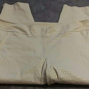 Lane Bryant Pants - Lane Bryant women's size 28 gold polka dot capris